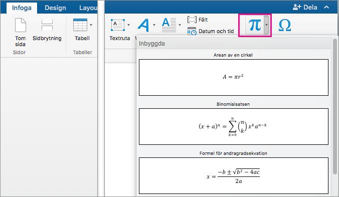 Knappen Ekvation är markerad på fliken Infoga.