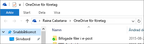 Gammal version av OneDrive för företag-klient på datorn