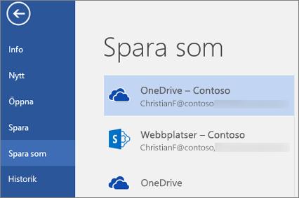 Spara ett Word-dokument till OneDrive för företag