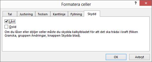Fliken Skydd i dialogrutan Formatera celler