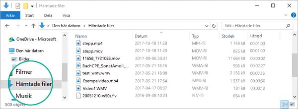 Den konverterade filen kopieras till mappen Nedladdningar på din dator