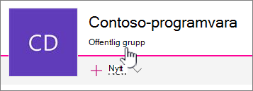 Underrubriken Grupp visas på gruppanslutna webbplatser