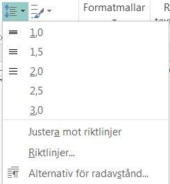 Skärmbild av hur du ändrar radavståndet i Publisher.