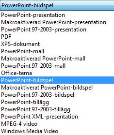 Spara presentationen som ett PowerPoint-bildspel.