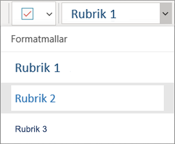 Rubriklista i OneNote för Windows 10