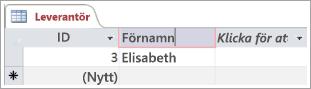 Skärmkodavsnitt av leverantörstabell som visar två rader med ID