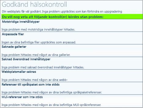Hälsokontrollresultat för webbplatssamlingen
