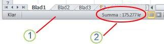 Statusfältet i Excel