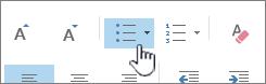Knappar för punktlista och numrerad lista i Outlook