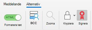 Visar knappen skylt i ett e-postmeddelande