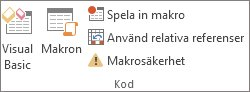 Gruppen Kod på fliken Utvecklare i Excel