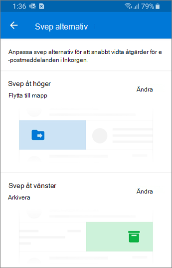Ställa in svep alternativ i Outlook Mobile