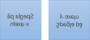 Exempel på speglad text: den första texten är roterad 180 grader längs x-axeln, den andra är roterad 180 grader längs y-axeln
