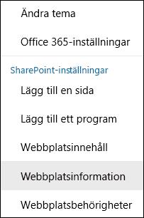 Skärmbild som visar menyalternativet Webbplatsinformation i SharePoint.