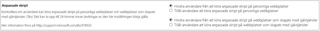 Avsnitt för anpassade skript på sidan Inställningar i administrationscentret för SharePoint