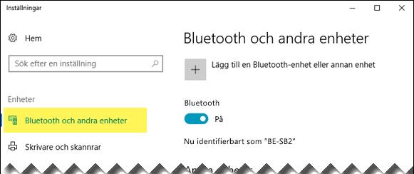 Se till att alternativet Bluetooth och andra enheter är markerat på vänster sida