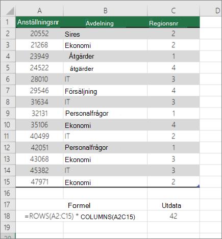 Exempel på funktionen RADER och KOLUMNER för att räkna antalet celler i ett område