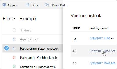Skärmbild av versionshistoriken för ett OneDrive för företag-fil som visas i informationsfönstret