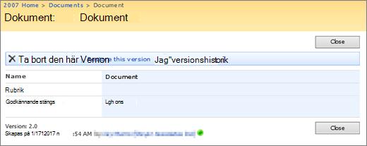 Dialogruta för versionsvisning