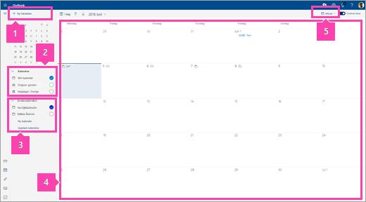 En skärmbild av Kalender-gränssnittet
