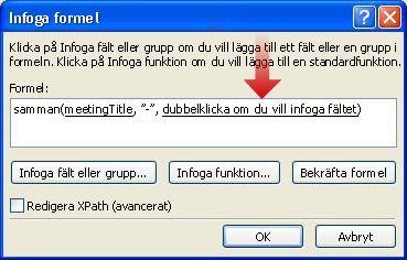 Dubbelklicka för att infoga ett till fält som kan användas som en del av formulärnamnet