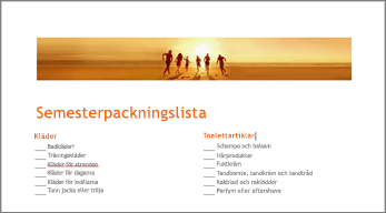 Word-mall för packningslista