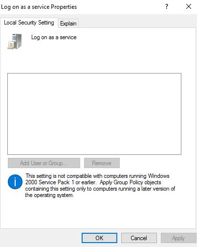UIFlowService inte i Logga in som tjänst princip lokal