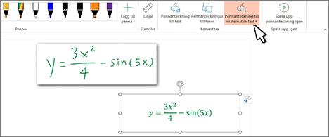 Handskriven ekvation och samma ekvation konverterad till formaterad text och tal
