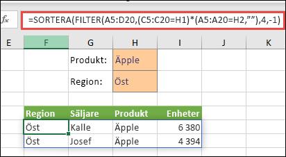 Använd FILTER med SORTERA-funktionen för att returnera alla värden i vårt matrisområde (A5:D20) som innehåller äpplen OCH som hör till regionen öst, och sortera sedan enheterna i fallande ordning.