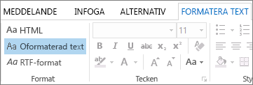 Formatalternativen för meddelanden på fliken Formatera text
