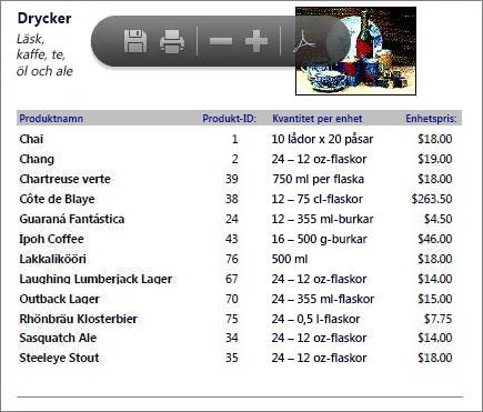 En inbäddad PDF-fil av en produktkatalog visas i PDF Reader