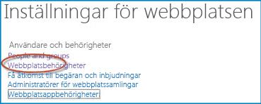 Skärmbild av en uppsättning alternativ på sidan Webbplatsinställningar som visar länken Personer och grupper