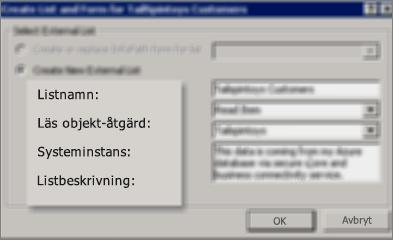Dialogrutan Skapa lista och formulär med alternativet att skapa en extern lista valt, med alla fyra fält ifyllda.