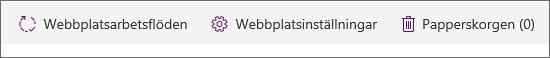 Vy av knappen Papperskorg i Webbplatsinnehåll.