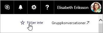 En skärmbild av knappen Följ på en SharePoint-webbplats.