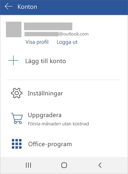 Visar alternativet för att logga ut från Office på en Android-enhet