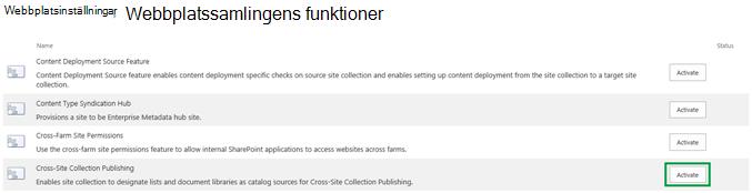 Aktivera funktionen Global publicering av webbplatssamlingar
