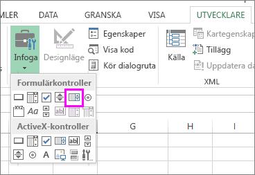 Formulärkontrollknappen för listrutor