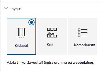 Webbplatser webbdel layout-inställningar