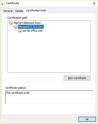 Välja obligatoriskt certifikat under certifikat Sök väg