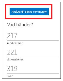 skärmbild av knappen Ansluta till denna community.