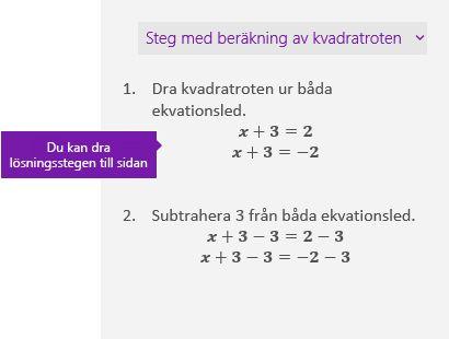 Lösningssteg i åtgärdsfönstret Matematik