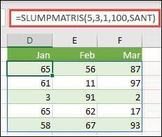 Funktionen SLUMPMATRIS med argument för Min, Max och Heltal