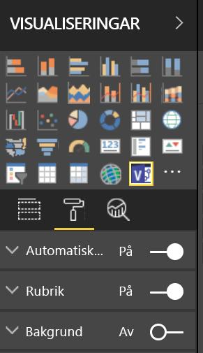 Fönstret Visualiseringar i Power BI