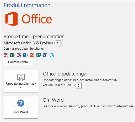 Skärmbild av sidan Konto som visar Office-produktnamn och fullständigt versionsnummer