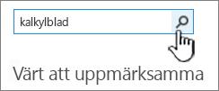 Fältet Sök efter app med Kalkylblad inskrivet och knappen Sök markerad