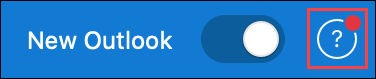 Skärmbild som visar hjälpikonen när supporten har uppdaterat