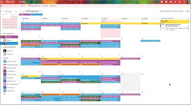 Exempel på en gruppkalender med färgkodning för att indikera olika grupper