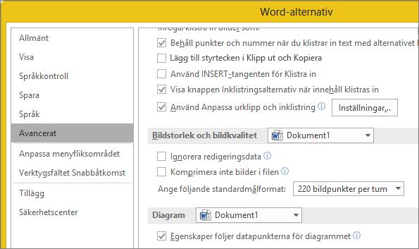 Alternativ för Bildstorlek och bildkvalitet i Word