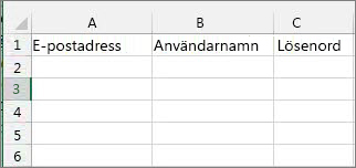 Cellrubriker i Excel-migreringsfilen.